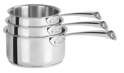 Lot de 3 casseroles inox cristel casteline poignee fixe for Ikea casseroles et casseroles